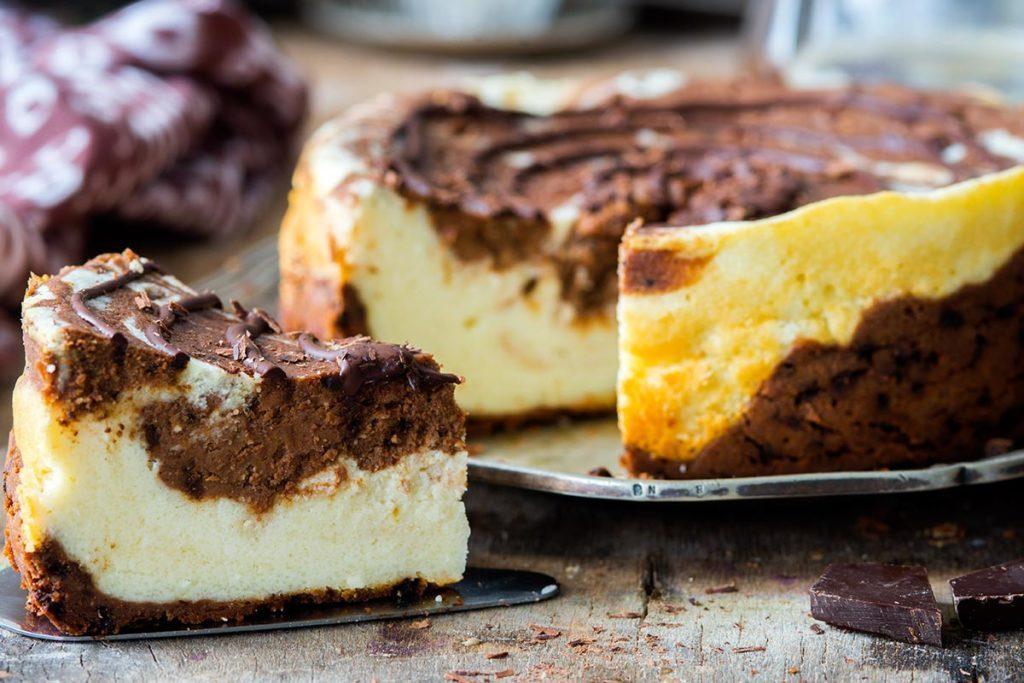 Recette de gâteau au fromage marbré à base de tofu.
