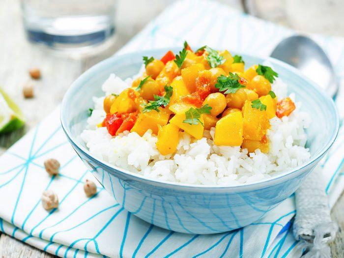 Recette itrouille Riz Curry Cari Epice Pois Chiches