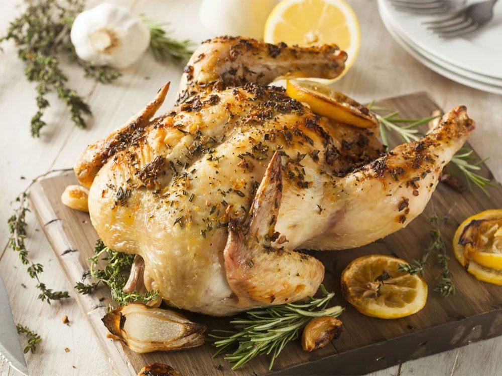 Recette de poulet grillé au romarin.