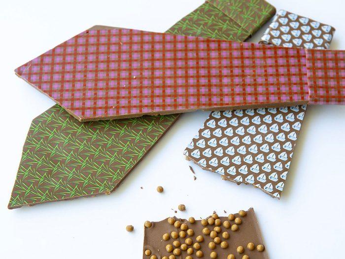 Des cravates en chocolat en tant qu'idées de cadeaux pour la fête des Pères.
