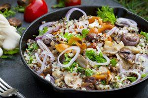 Recette végétarienne de quinoa et riz brun avec duxelles de pleurotes