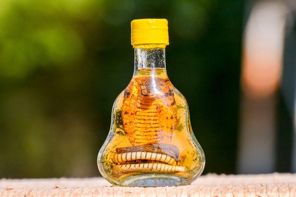 Une boisson étrange qui contient un serpent