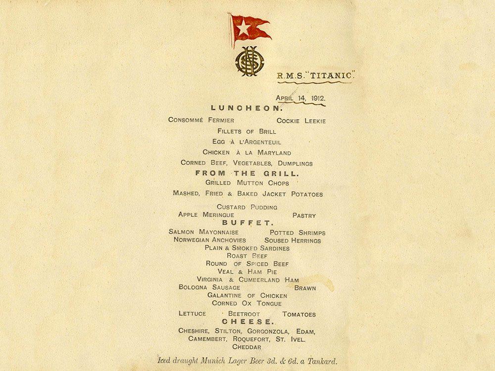 L'ultime carte de menu du Titanic pourrait se vendre à 95 000 $!