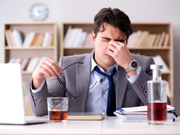 L'alcool peut vous stresser.