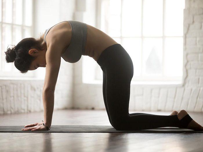 Faites la position du chat pour soulager les maux de dos.