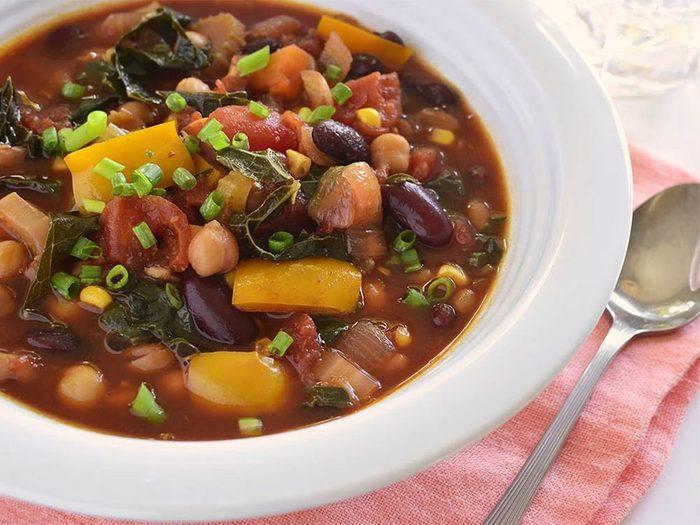 Un chili végétarien pour un lundi sans viande.