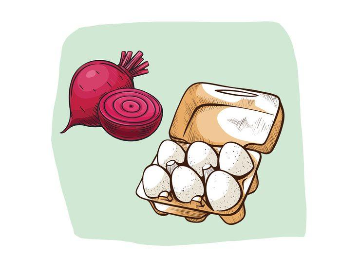 Betteraves et oeufs font partie des combinaisons alimentaires efficaces.