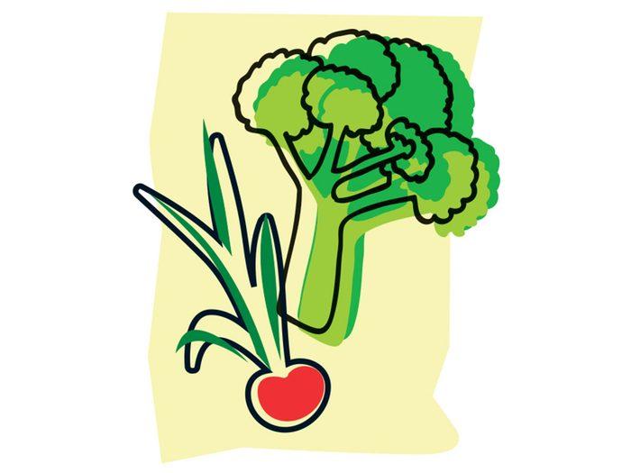 Brocoli et radis font partie des combinaisons alimentaires efficaces.