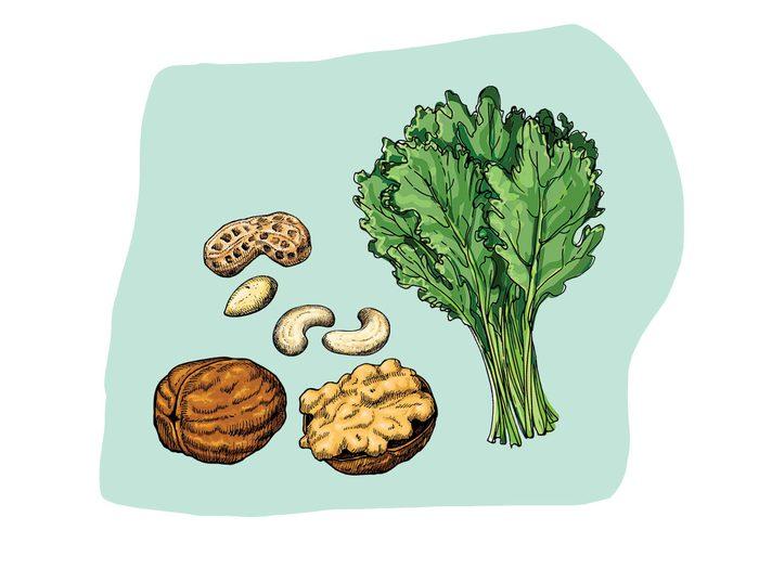 Chou kale et noix font partie des combinaisons alimentaires efficaces.