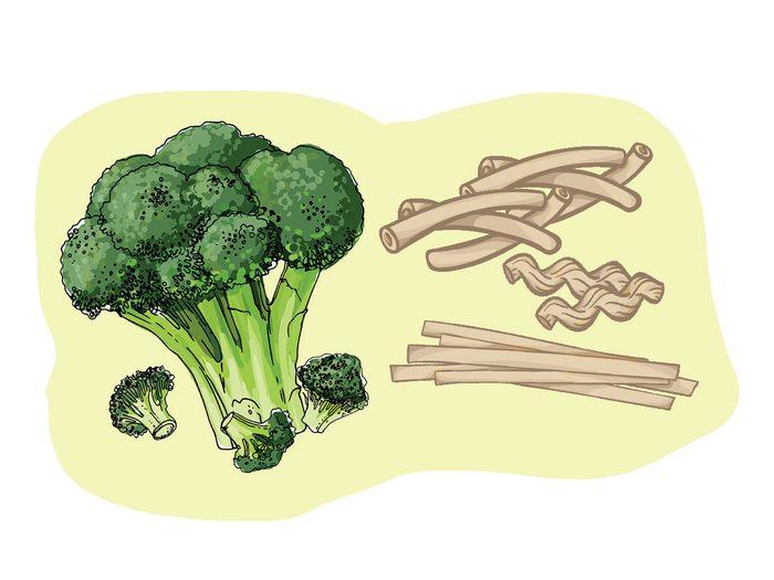 Pâtes de sarrazin et brocoli font partie des combinaisons alimentaires efficaces.