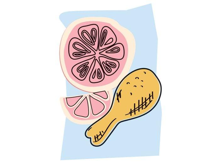 Poulet et pomélo font partie des combinaisons alimentaires efficaces.