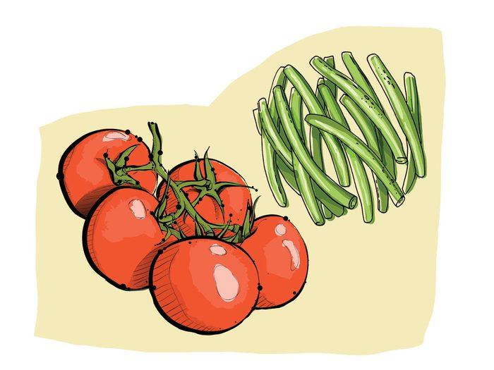 Haricots verts et tomates font partie des combinaisons alimentaires efficaces.