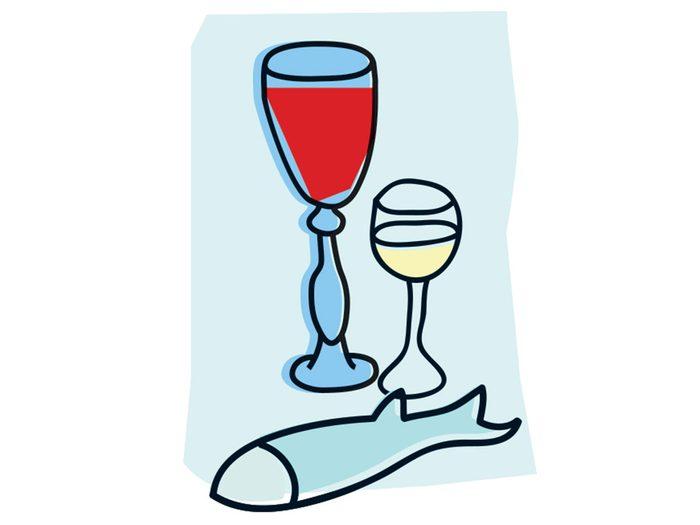 Poisson et vin font partie des combinaisons alimentaires efficaces.