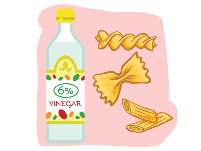 Pâtes et vinaigre font partie des combinaisons alimentaires efficaces.