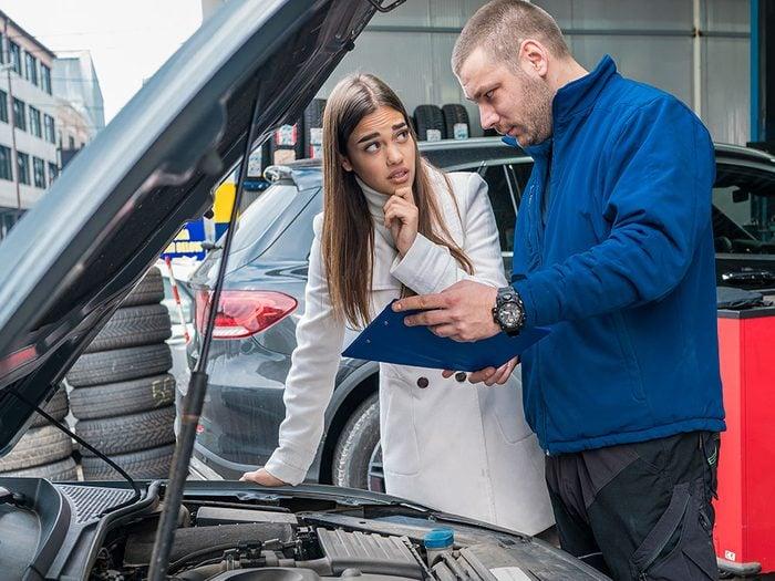 Réparation de voitures: une soumission qui n'est pas claire.