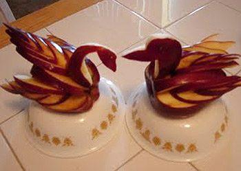 Pommes en cygne et en canard