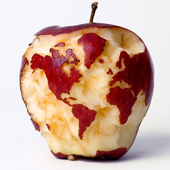 Pomme en globe terrestre