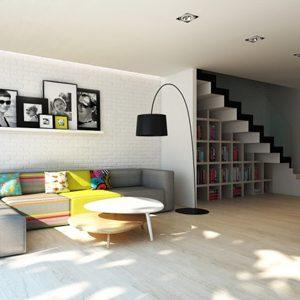 2. Une bibliothèque dans un escalier