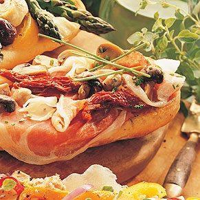 3. Bruschetta au prosciutto, champignons et fromage