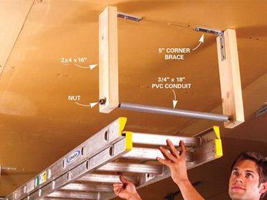 Suspendre les échelles au plafond pour économiser de l'espace