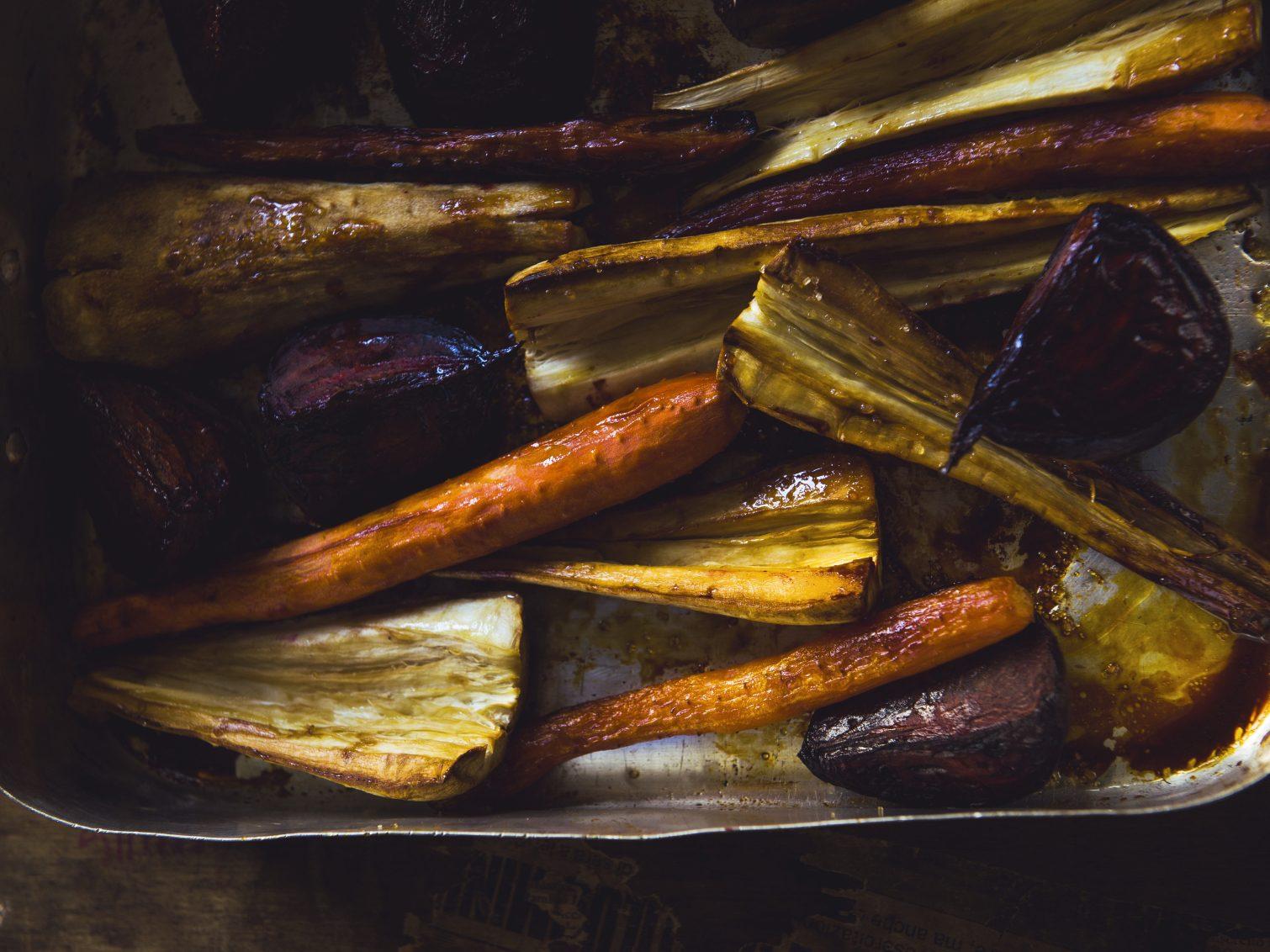 Légumes racines à l'érable et au gingembre