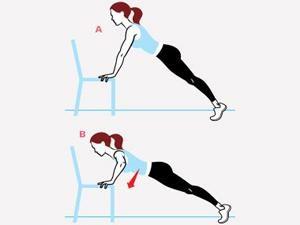 Mouvement un peu plus difficile: pompes sur une chaise