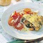 Omelettes aux épinards et aux champignons