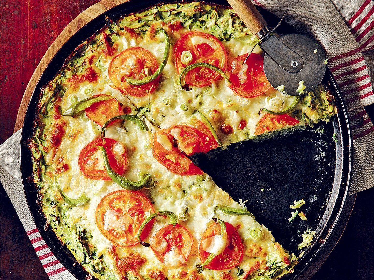 Pizza végétarienne à fond de courgette