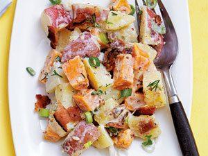 Recette de salade aux 3 pommes de terre et bacon