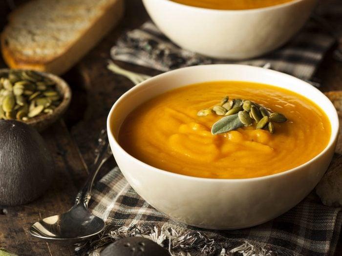 Une recette de velouté de carottes faible en calories