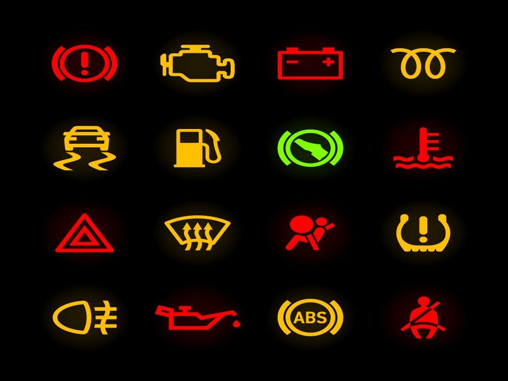 Voyants lumineux dans une voiture