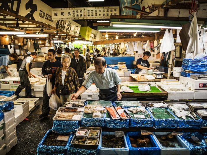 Le marché de poissons de Tsukiji