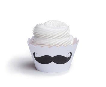 Moules en papier moustache pour cupcakes