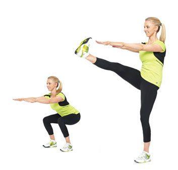 4. Squats avec coups de pied: 2 minutes