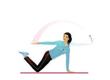 5. Épaules: planche agenouillée avec extension arrière du bras