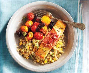 Saumon enveloppé de prosciutto avec quinoa