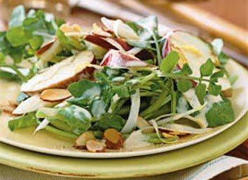 Salade d'endives, pommes et cresson aux amandes
