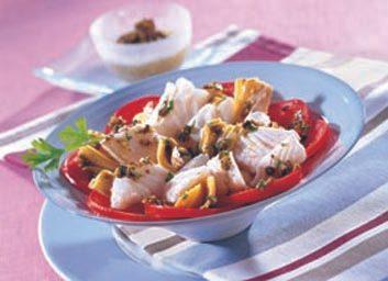 Salade de morue, vinaigrette aux olives