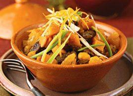 Tajine de bœuf aux patates douces et aux abricots