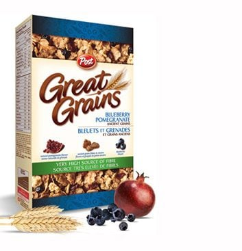 Bleuets, grenades et grains anciens de Post Great Grains