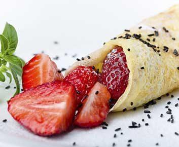 Crêpes aux fraises et au gingembre