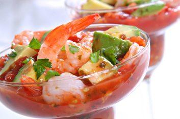 Crevettes et salsa poivron