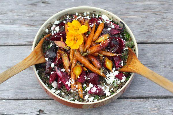 La meilleure recette de lentilles avec betteraves et carottes rôties