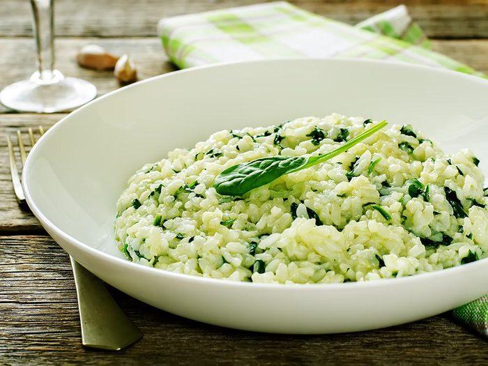Recette faible en calories: risotto émeraude.