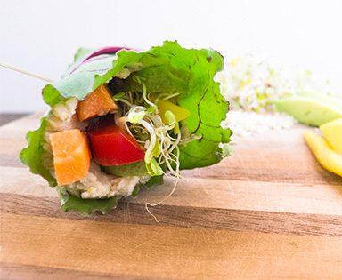Roulé aux légumes frais et au hummus