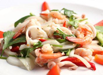 Salade tiède au kasha et aux fruits de mer