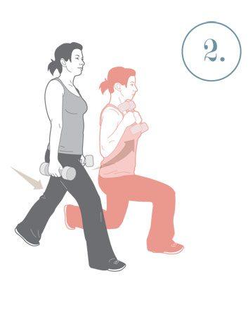 2. Fentes en marche et flexion des biceps
