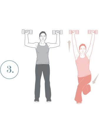 3. Fente arrière croisée et presse des bras