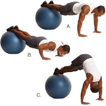 4. Pompes au ballon suisse, avec levée des hanches