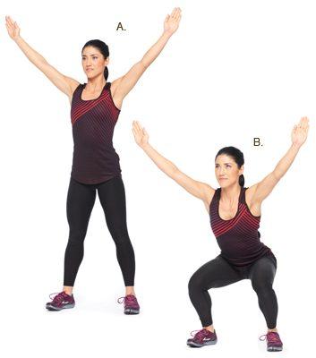 Flexion de jambes, bras au-dessus de la tête: 2 minutes